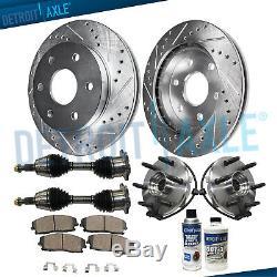 Front DRILLED Brake Rotors + Pads + Wheel Bearings + Axles Yukon Tahoe Suburban