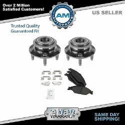 Front Wheel Hub & Bearing Pair with Semi-Metallic Brake Pad Kit for Mustang