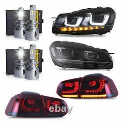 LED Headlights+LED Taillights+H7 LED Bulbs for 10-13 Golf MK6 12-13 Golf R