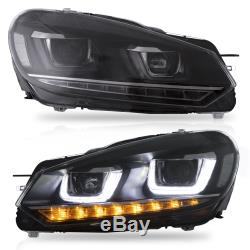LED Headlights + RED CLEAR Tail Lights for 10-13 Golf MK6 GTI 12-13 Golf R