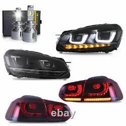 LED Headlights+Red Smoke Taillights+H7 Bulbs for 10-13 Golf MK6 12-13 Golf R