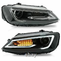 LED Headlights withDUAL BEAM+RED Taillights+VLAND H7 LED Bulbs for 11-14 VW JETTA