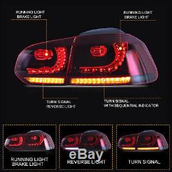 LED Projector Headlights+RED Taillights for 10-13 Golf MK6 GTI 12-13 Golf R