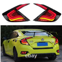 Pair LED Tail Lights For Honda Civic 2016-2019 Rear Lamp Brake Turn Assembly