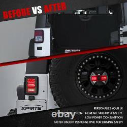 Pair Smoked LED Tail Lights Reverse Brake Rear Lamps for 07-18 Jeep Wrangler JK