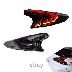 Pair smoke LED Tail Lights For Toyota CHR 2018-2019 Rear Lamps Assembly Brake