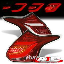 Red Housing LED Tube Brake Tail Lights Lamps LH+RH Set For 2012-2014 Focus Hatch