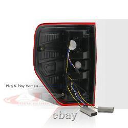 Red Lens Chrome LED Tube Tail Lights Brake Lamps Pair For 2009-2014 Ford F-150