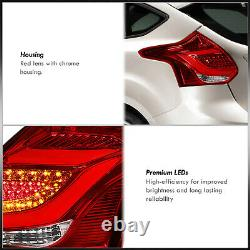 Red Lens LED Tube Brake Tail Lights Lamps Pair For 2012-2014 Ford Focus Hatch