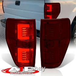 Red Smoked Lens LED Tube Tail Lights Brake Lamps Pair For 2009-2014 Ford F-150