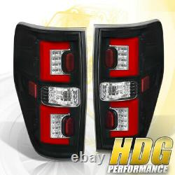Red Streak LED Style Black Housing Tail Lights Lamps Upgrade For 09-14 Ford F150
