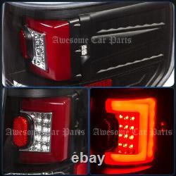 Red Tube LED Black Housing Tail Lights Lamp For 09-2014 Ford F150 Pickup Trucks