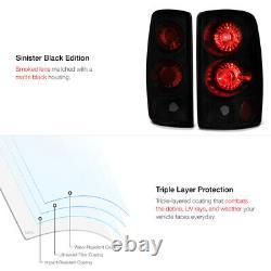 SINISTER BLACK Tahoe Yukon XL Suburban 1500 2500 Smoke Rear Taillight Taillamp