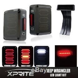 Smoke LED Rear Taillight + 3rd Third Brake Light For 07-18 Jeep Wrangler JK