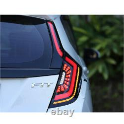 Smoke LED Tail Lights For Honda Fit Jazz 2015-2018 Rear Lamp Brake Turn Assembly