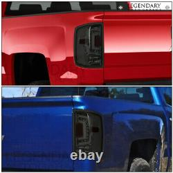 Smoked Lens Chrome Housing LED Tube Tail Light Lamps For 14-18 Chevy Silverado