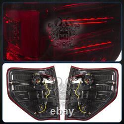 Tube LED Red Smoked Lens Tail Lights Lamp For 2009-2014 Ford F150 Pickup Trucks