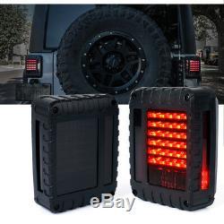Xprite G2 LED Tail Light Black with Smoke Lens For 07-18 Jeep Wrangler JK JKU
