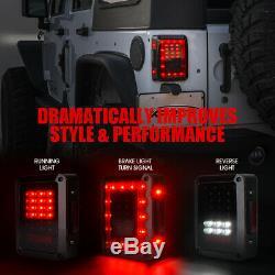 Xprite LED Tail Light Black Housing Conversion Smoke Lens For Jeep Wrangler JK