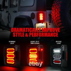 Xprite LED Tail Light Black Running/Brake/Reverse for 2007-2018 Jeep Wrangler JK