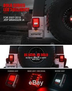 Xprite LED Tail Light Black with Clear Lens For Jeep Wrangler JK JKU 2007 2018