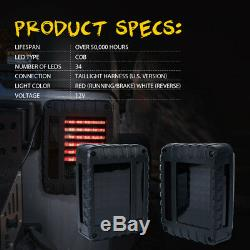 Xprite LED Tail Light Black with Smoke Lens For 07-18 Jeep Wrangler JK JKU